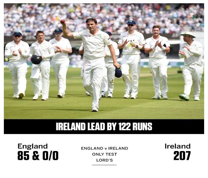 বিশ্বচ্যাম্পিয়নদের ৮৫ রানে অলআউট করে ১২২ রানের লিড আইরিশদের